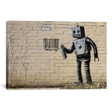 Coney Island Barcode Robot by Banksy Gallery Wrapped Canvas Artwork