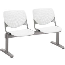 2300 KOOL Series Beam Seating with 2 Poly Perforated Back and Seats with Silver Frame - White