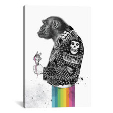 Punkey Monkey by RUGMANart Gallery Wrapped Canvas Artwork with Floating Frame - 27