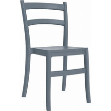 Tiffany Outdoor Resin Cafe Style Stackable Dining Chair - Dark Gray