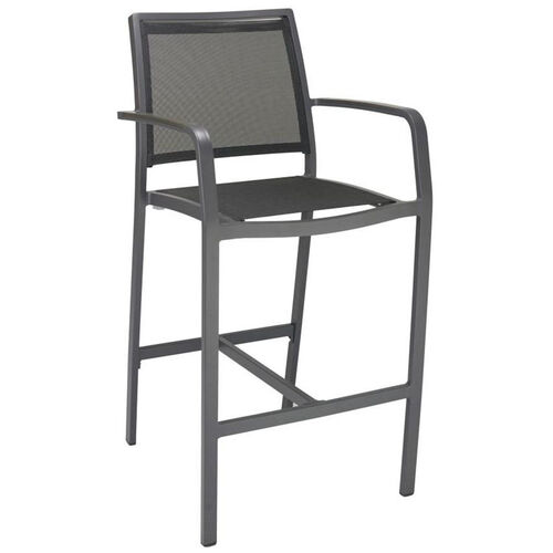 Our South Beach Collection Aluminum Outdoor Barstool with Arms and Textile Back - Black is on sale now.