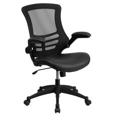 Mid-Back Black Mesh Swivel Ergonomic Task Office Chair with Leather Seat and Flip-Up Arms