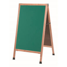 A-Frame Sidewalk Green Composition Chalkboard with Solid Red Oak Frame - 42