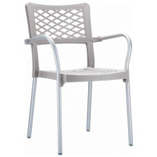 Bella Resin Stackable Dining Arm Chair with Aluminum Frame - Silver Gray