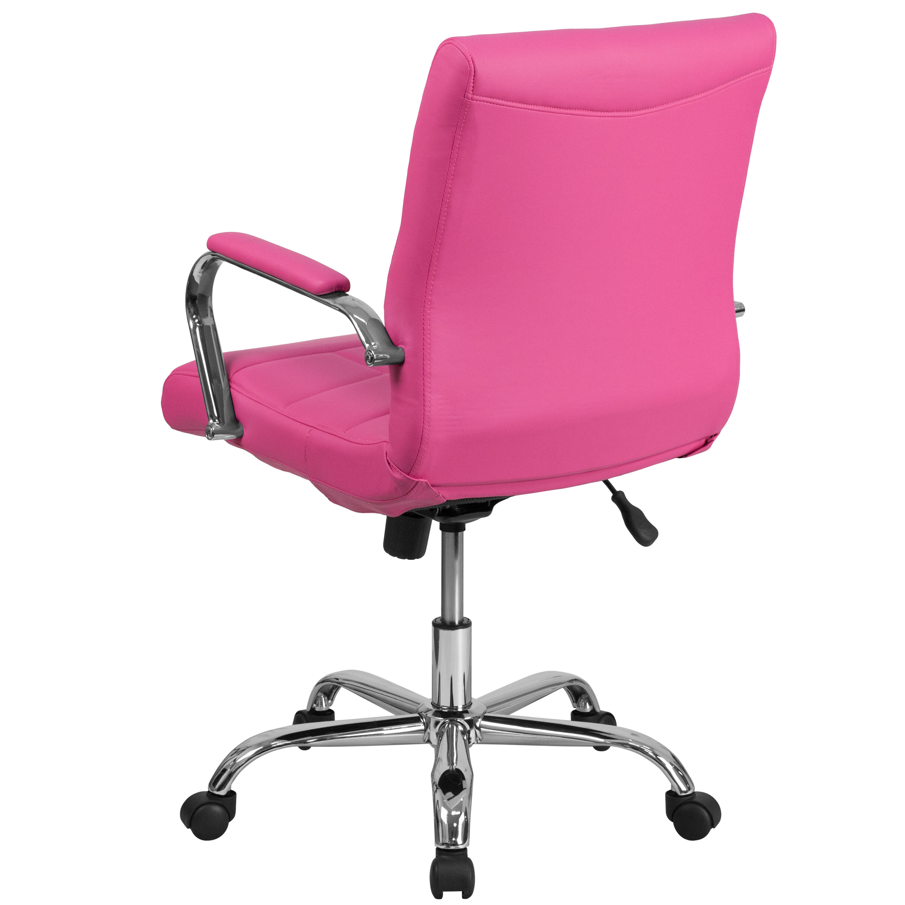 ... Our Mid Back Pink Vinyl Executive Swivel Chair With Chrome Base And  Arms Is On ...
