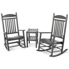 POLYWOOD® Jefferson 3-Piece Rocker Set - Slate Grey