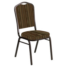 Embroidered Crown Back Banquet Chair in Canyon Mint Cider Fabric - Gold Vein Frame