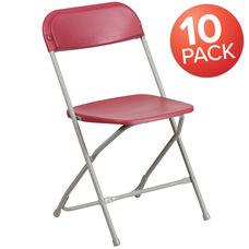10 Pk. HERCULES Series 650 lb. Capacity Premium Plastic Folding Chair