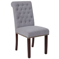 HERCULES Series Light Gray Fabric Parsons Chair with Rolled Back, Accent Nail Trim and Walnut Finish