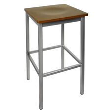 Trent Backless Silver Barstool - Walnut Wood Seat