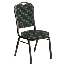 Embroidered Crown Back Banquet Chair in Eclipse Pewter Fabric - Gold Vein Frame
