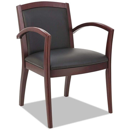 Our Alera® Reception Lounge 500 Series Arch Back Solid Mahogany Wood Frame Arm Chair - Black Leather is on sale now.