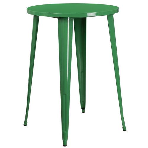 "Commercial Grade 30"" Round Green Metal Indoor-Outdoor Bar Height Table"