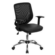 Mid-Back Black Mesh Tapered Back Swivel Task Office Chair with Leather Seat, Chrome Base and T-Arms
