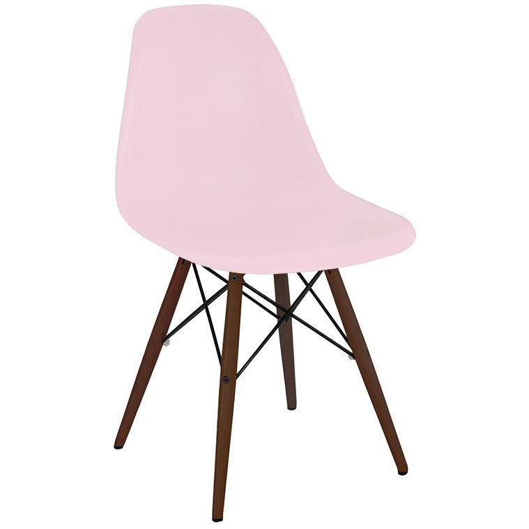 ... Our Trige Baby Pink Armless Side Chair With Walnut Wood Base   Set Of 5  Is ...