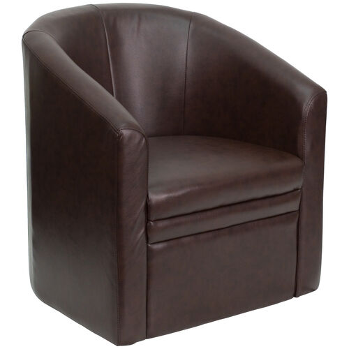 Our Brown LeatherSoft Barrel-Shaped Guest Chair is on sale now.