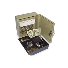 SecurIT® Key Cabinet/Drawer Safe - 10-Key - Steel - Pebble Beige - 6 3/4 x 6 7/8 x 3