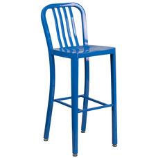 "Commercial Grade 30"" High Blue Metal Indoor-Outdoor Barstool with Vertical Slat Back"