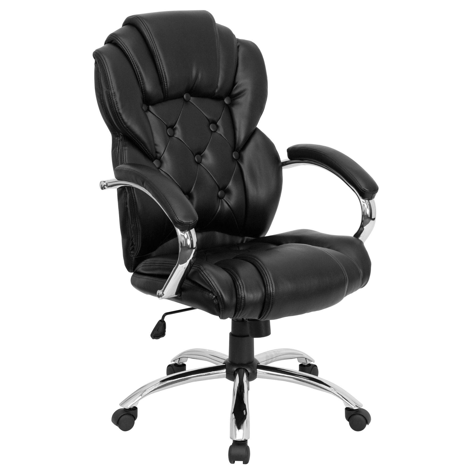 Astounding High Back Transitional Style Black Leather Executive Swivel Office Chair With Arms Gmtry Best Dining Table And Chair Ideas Images Gmtryco