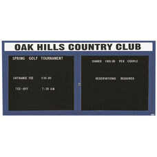 2 Door Indoor Illuminated Enclosed Directory Board with Header and Blue Anodized Aluminum Frame - 36