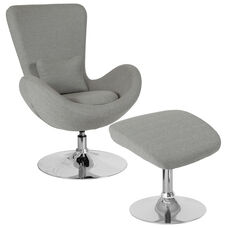 Egg Series Light Gray Fabric Side Reception Chair with Ottoman