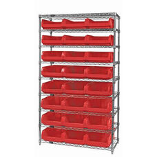 Wire Shelving Unit with 24 Magnum Bins - Red