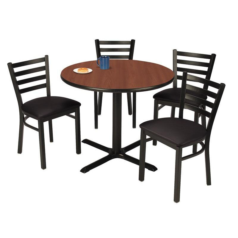 ... Our 36u0027u0027 Round Mahogany Laminate Table Set With X Base And Black Vinyl