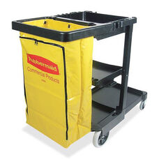Rubbermaid Commercial Products Janitor Cart with Zipper Vinyl Bag - 12