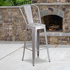 "Commercial Grade 30"" High Silver Metal Indoor-Outdoor Barstool with Removable Back"
