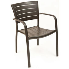 Riviera Collection Stackable Bronze Aluminum Outdoor Arm Chair