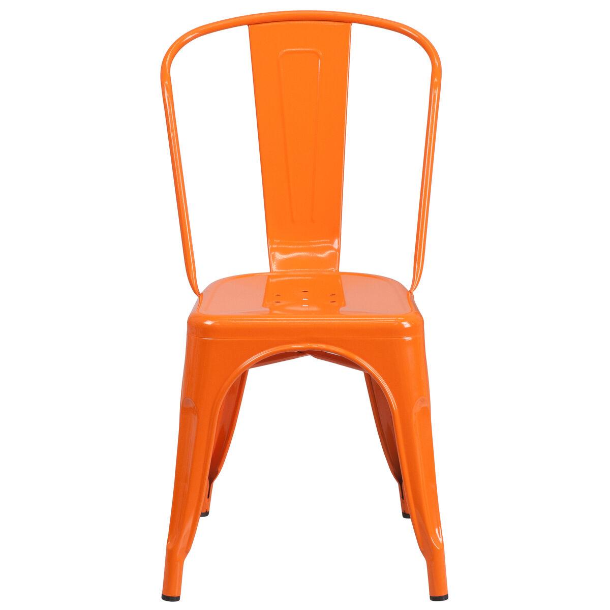 Flash Furniture Orange Metal Indoor-Outdoor Stackable ...