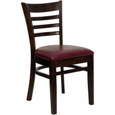 Walnut Finished Ladder Back Wooden Restaurant Chair with Burgundy Vinyl Seat