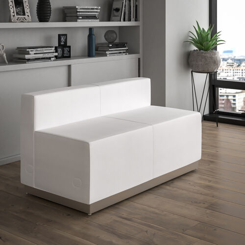 HERCULES Alon Series Melrose White LeatherSoft Loveseat with Brushed Stainless Steel Base