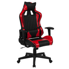 Cumberland Comfort Series High Back Black and Red Executive Reclining Racing/Gaming Swivel Chair with Adjustable Lumbar Support