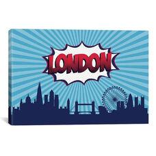 Comic Book Skyline Series: London by Octavian Mielu Gallery Wrapped Canvas Artwork - 26