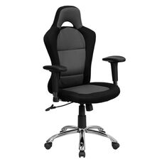 Race Car Inspired Gray and Black Mesh Swivel Task Chair with Bucket Seat and Adjustable Arms