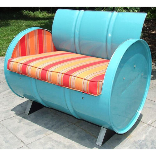 Santa Fe Steel Drum Armchair with Multicolor Accents