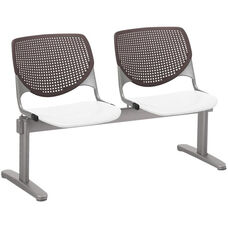 2300 KOOL Series Beam Seating with 2 Poly Brownstone Perforated Back Seats and White Seats