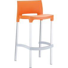 Domenica Lightweight Stackable Barstool with Matte Aluminum Legs - Orange