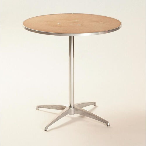 Standard Series Round Pedestal Table with Chrome Plated Steel Column and Plywood Top - 30