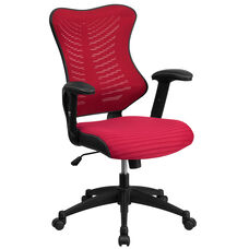 High Back Designer Burgundy Mesh Executive Swivel Ergonomic Office Chair with Adjustable Arms