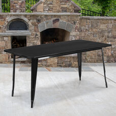 "Commercial Grade 31.5"" x 63"" Rectangular Black Metal Indoor-Outdoor Table"