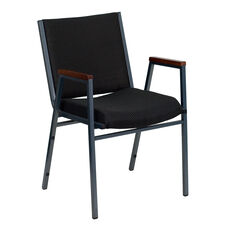 HERCULES Series Heavy Duty Black Dot Fabric Stack Chair with Arms