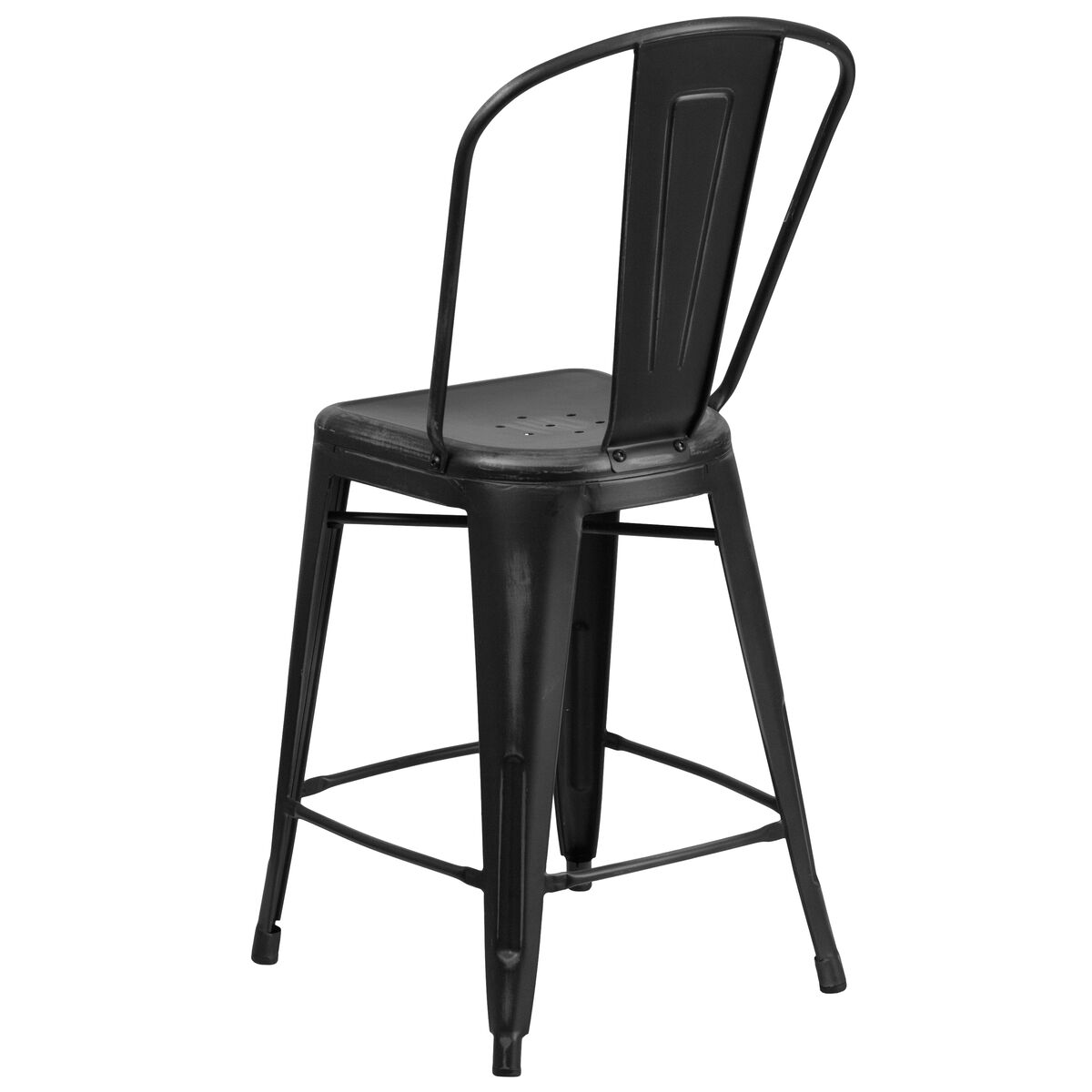 Our 24 High Distressed Black Metal Indoor Outdoor Counter Height Stool With Back