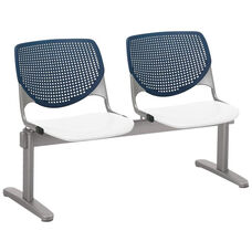 2300 KOOL Series Beam Seating with 2 Poly Navy Perforated Back Seats and White Seats