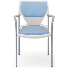 Arriva Four Leg Stacking Chair with Cushion Back and Seat - White Plastic Shell