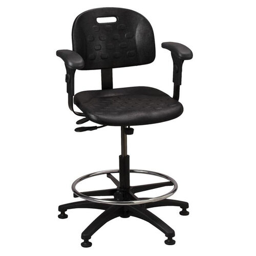 Our Industrial Specialty Black Polyurethane ABS Base Task Chair with Glides, Footring, and Adjustable Armrests is on sale now.