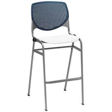 2300 KOOL Series Stacking Poly Armless Barstool with Navy Perforated Back and White Seat