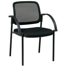 Work Smart Screen Back and Padded Mesh Seat Visitors Chair with Arms - Black