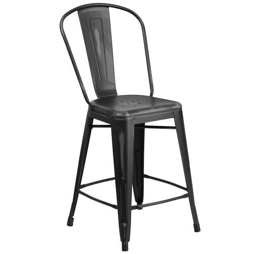 "Our Commercial Grade 24"" High Distressed Black Metal Indoor-Outdoor Counter Height Stool with Back is on sale now."